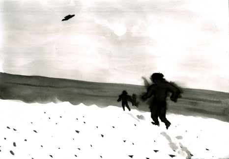 Drei am Strand mit Ufo