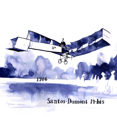 In the early days of aviation planes were often named after their owners - in this case the Brazilian Mr. Santos Dumont. It was the first plane to take off without additional starting gear and the first plane to fly successfully outside the US - in France.
