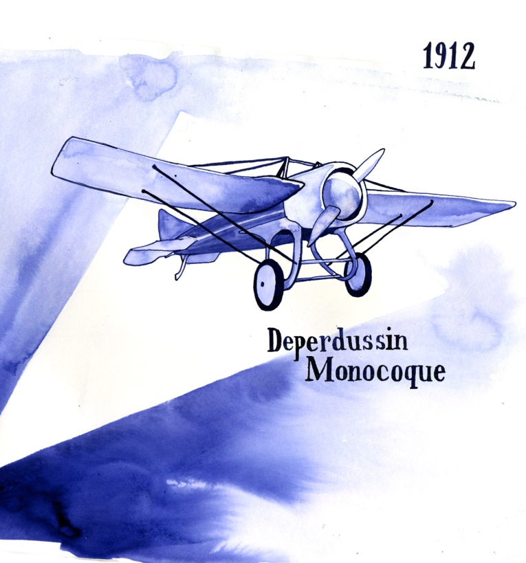One of the first race planes, the Deperdussin Monocoque, broke the speed record in 1912 by flying more than 200 mph