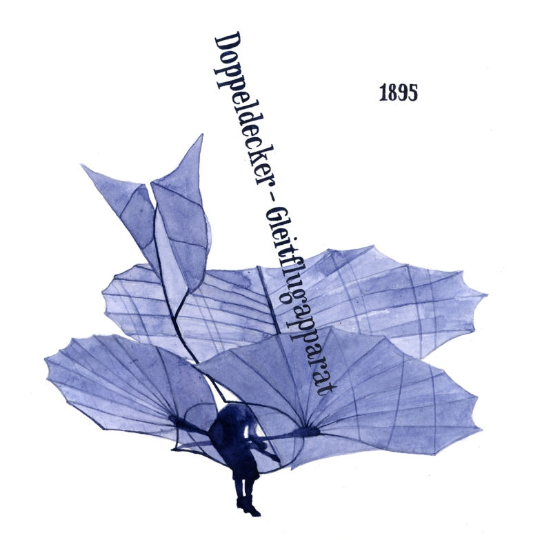 The Wrigth brothers based much on their design on Otto Lilienthal's flying machines, here Doppeldecker-Gleitflugapparat from 1895