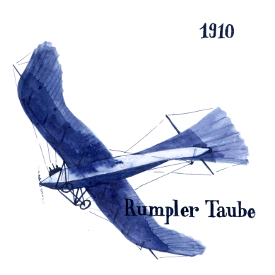 The Rumpler Taube (=dove) or Etrich Taube by Igo Etrich was the first airplane being mass-produced in Germany. It found new application a few years later in ... the First World War.
